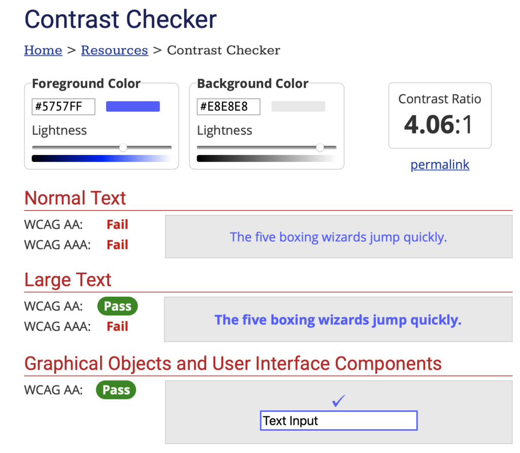 Image of the WebAIM Contrast Checker to check for color contrast to better design for color blindness.