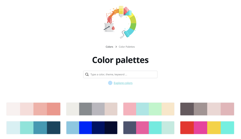 Shows what Canva color theme selector page looks like.