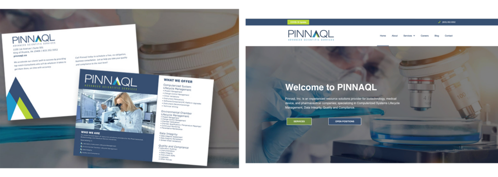 Photos of Pinnaql companies printed branding materials and a photo of their website. Shows the brand consistency, even though one is a print material and other is on the web.
